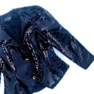 VTG New Years Eve Fancy Black Sequin Blazer